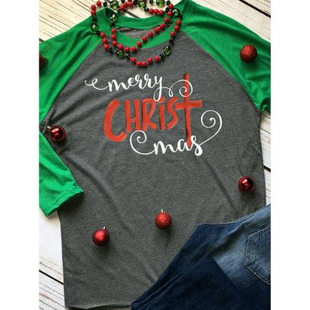 LMart Women Christmas Christ Print Long Sleeves Color Block Casual Tops (Block Print Tee)