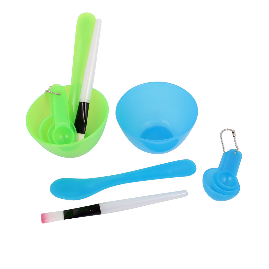 Women Plastic Facial Mask Bowl Measuring Spoon Stick Brush Green Blue 2 Sets