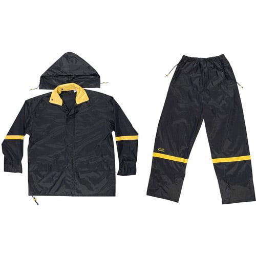 Custom Leathercraft Extra Large Black Nylon Rain Suit Set, 3pk