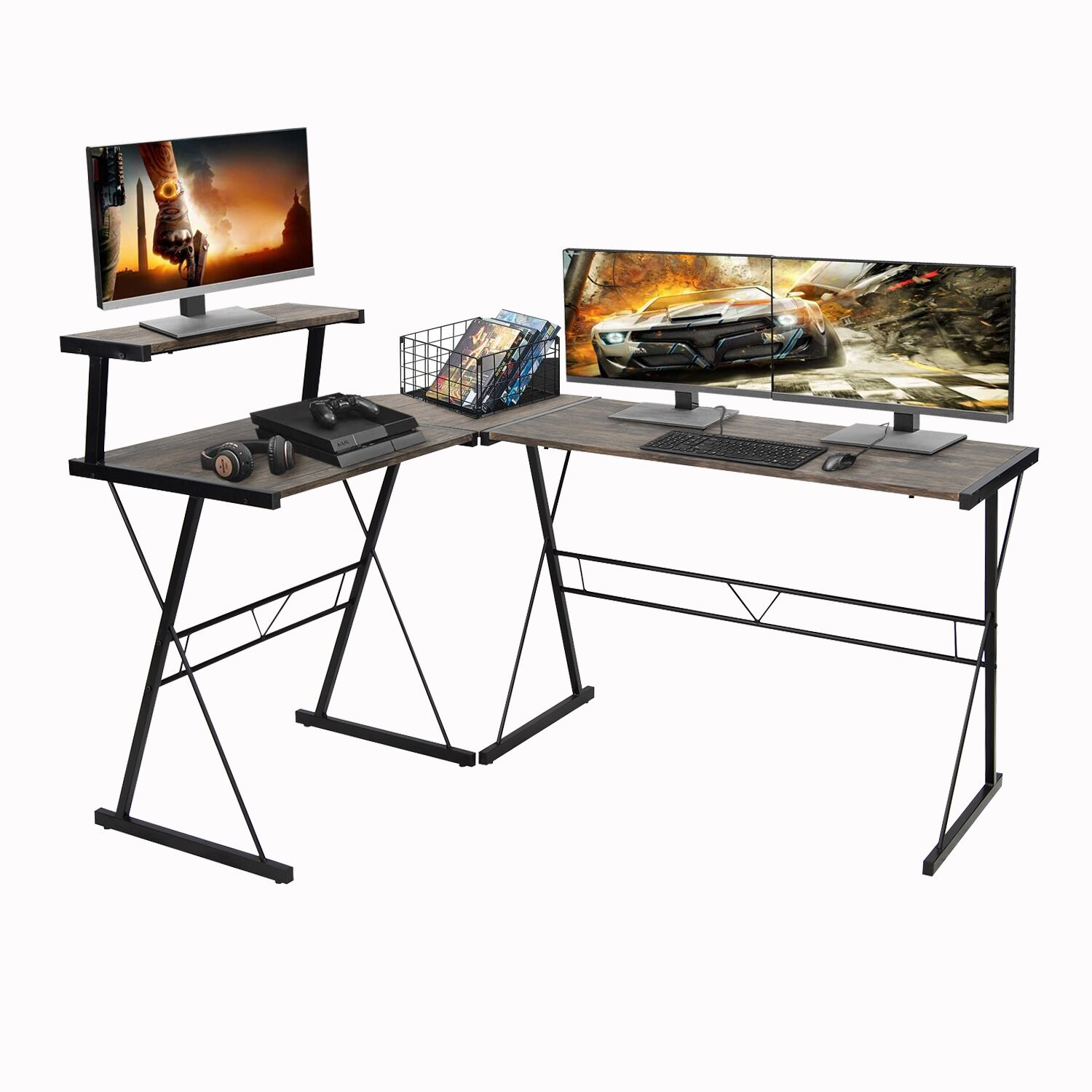 Aingoo L Shaped Corner Desk Industrial Style Large Desktop Computer Gaming Desk For Home Office Brown Walmart Com Walmart Com