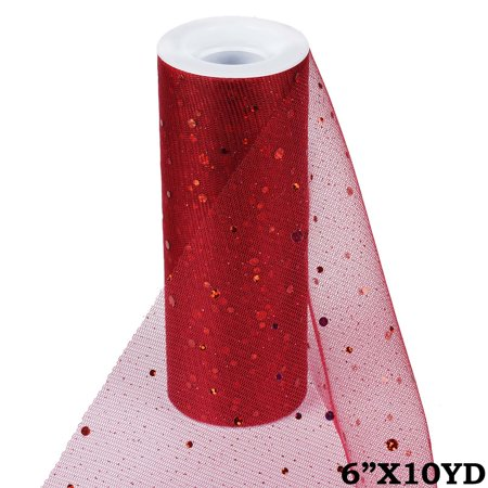 6 inches x 10 yards Sparkled Sequin Tulle Ribbon Roll For Favor Decor - Burgundy