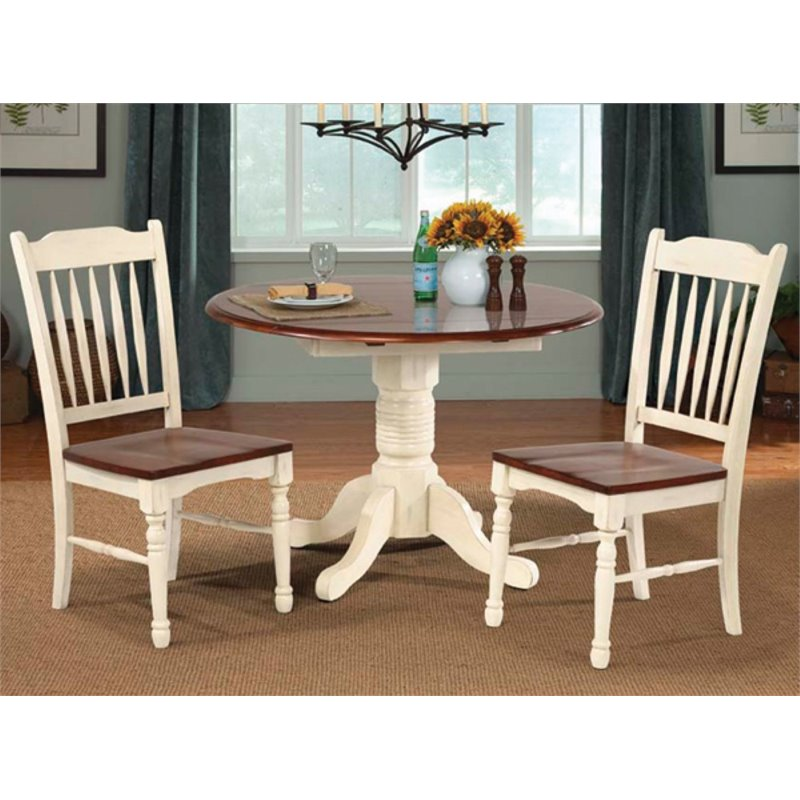 Bowery Hill Round Drop Leaf Dining Table in Buttermilk