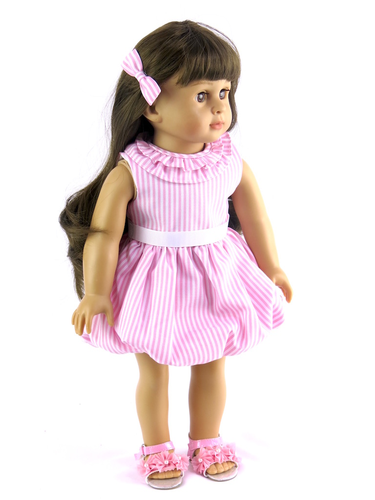 """Pink and White Striped Dress Fits 18"""" American Girl Dolls, Madame Alexander, Our... by"""