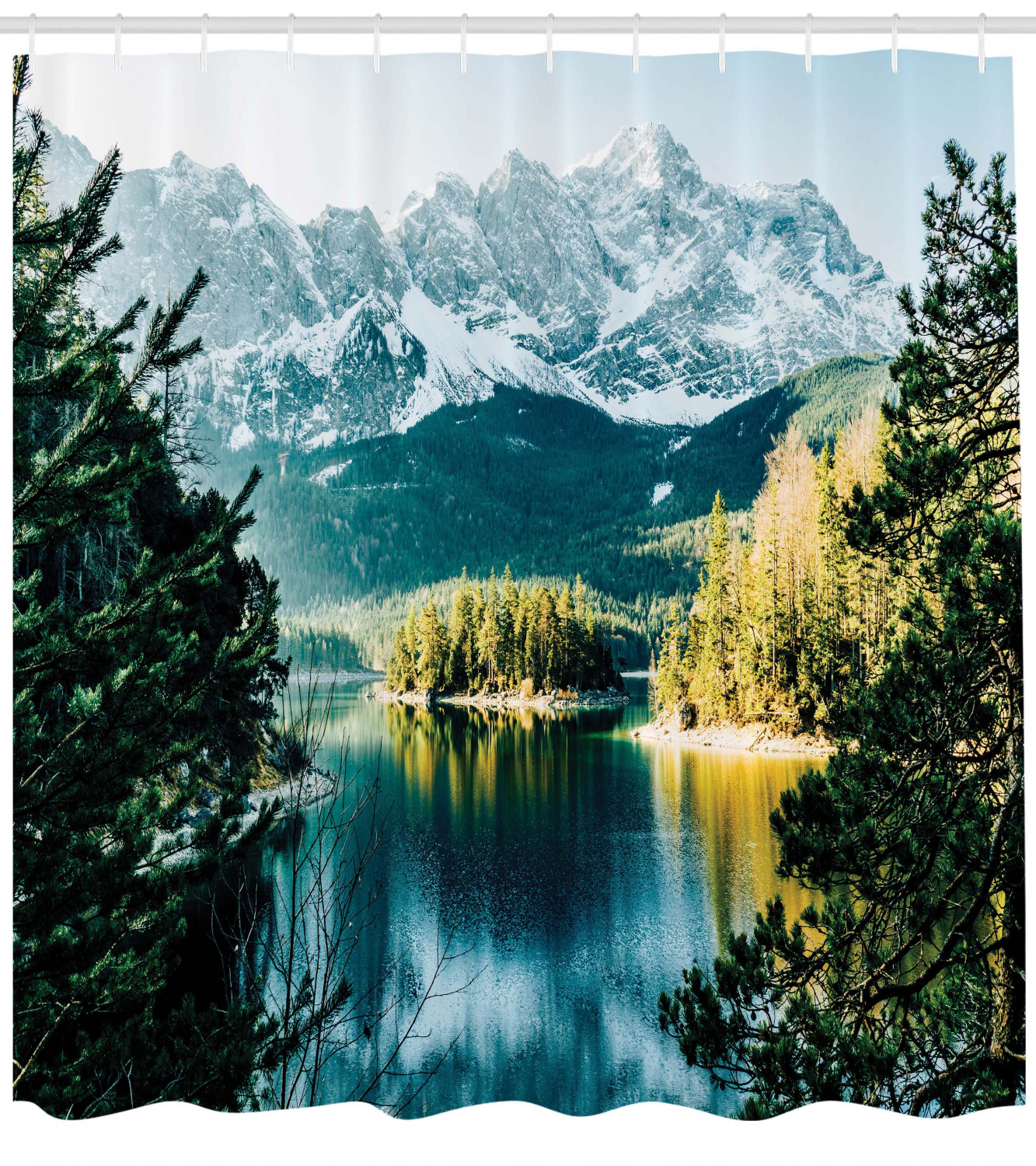 Tropical Jungle Mountain River Valley Scene Waterproof Fabric Shower Curtain Set