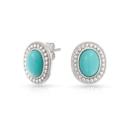 Blue Gemstone Compressed Turquoise Bead Bezel Halo Oval Stud Earrings For Women 925 Sterling - Small Turquoise Dreamcatcher Earrings