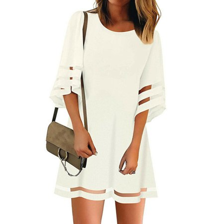 Womens 3/4 Bell Sleeve Crewneck Mesh Panel Flare Dress Casual Loose Chiffon Swing Dress Summer Holiday Loose Tunics Tops - Once Upon A Time Dresses