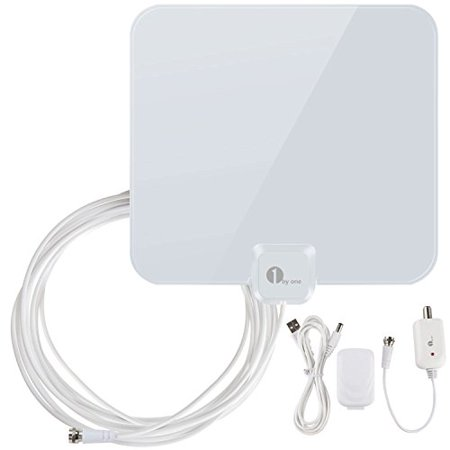 1Byone Tv Antenna 40 Miles Amplified Hdtv Antenna With Detachable Amplifier Booster Usb Power Supply To Boost Signal And 16 5Ft Coaxial Cable  Shiny White