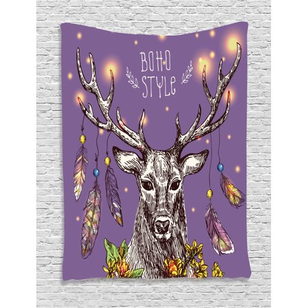 Apartment Decor Wall Hanging Tapestry, Boho Hand Drawn Rein Deer ...