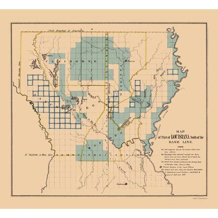 Old State Map - Louisiana Northern Survey Plat - 1836 - 23 x 25.08 ...