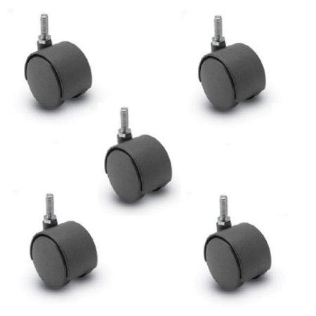 (5) Twin Wheel Stem Caster (375#)(75#Cap Each) (Stem Casters 5)