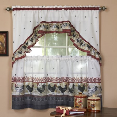 Country Rooster Kitchen Curtain Tier & Swag Set - 36 in. Long