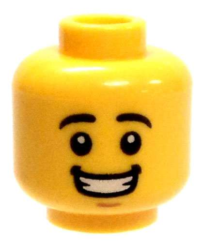 LEGO Minifigure Head YELLOW Male Dual Sided Freckles w Lopsided Grin Frown