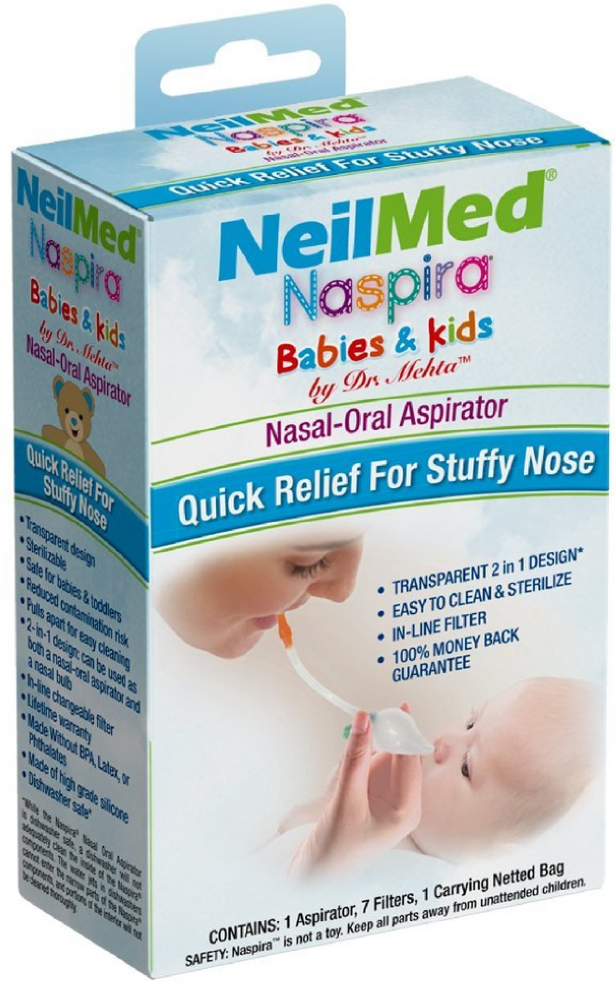 NeilMed Naspira Babies & Kids Nasal-Oral Aspirator Kit 1 ea (Pack of 3)