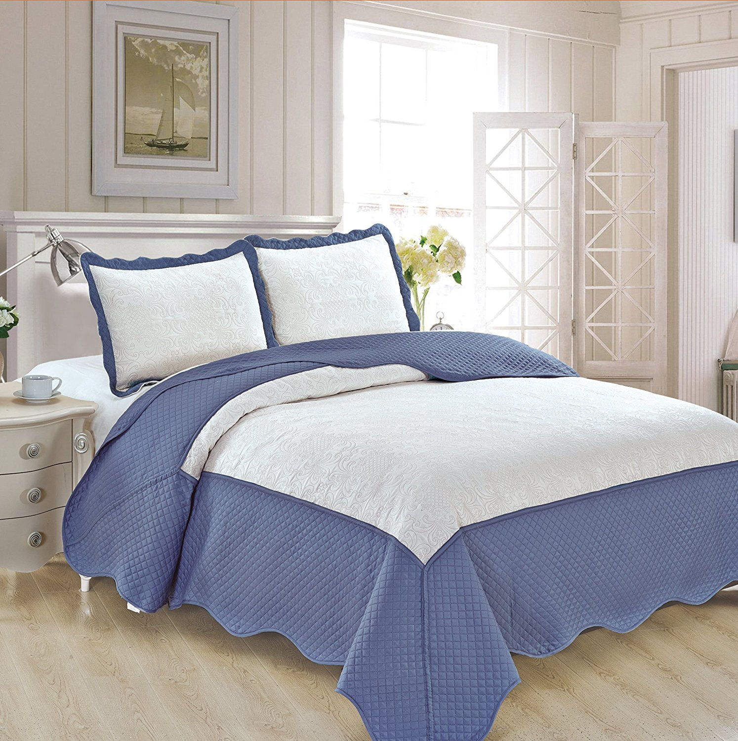"""Fancy Collection 3pc Luxury Bedspread Coverlet Embossed Bed Cover Solid Tow Tune White/Blue New Over Size King /California King 118"""" x 106"""" #Veronica"""