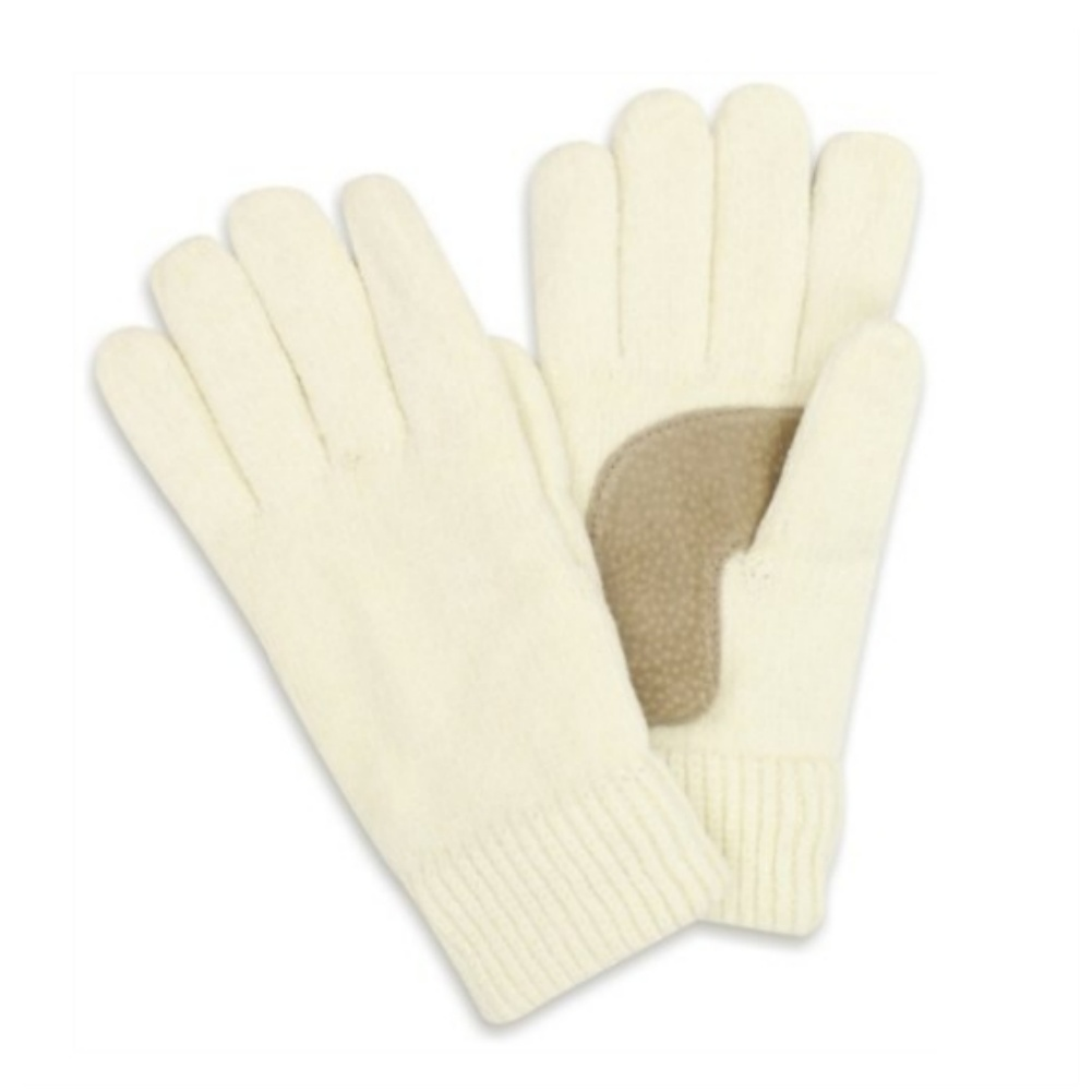 Isotoner Womens Ivory Rayon Chenille Knit Gloves Thinsulate Lined Off White