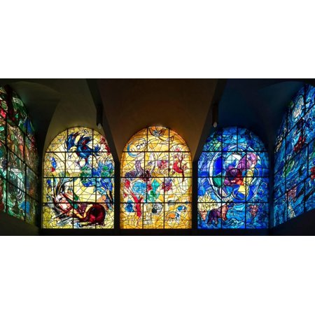 Stained glass Chagall Windows at Hadassah Medical Centre, Jerusalem, Israel Print Wall Art ()