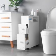 Bathroom Floor Cabinet Free Standing Cabinet Narrow Storage Cabinet with Slide-Out Drawers, Storage Shelves & Paper Holder