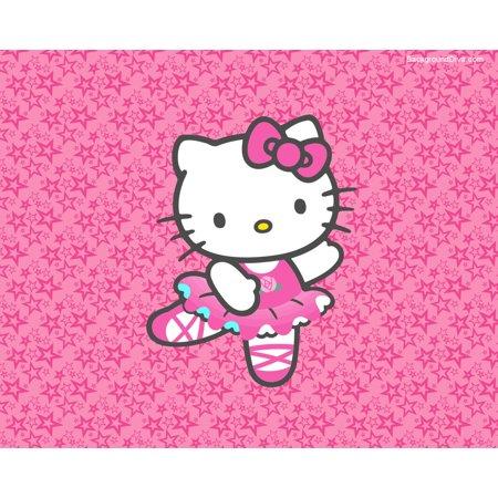 Hello Kitty Halloween Cake (Hello Kitty Ballerina Dancing on Pink Starry Background Edible Cake Topper Image)