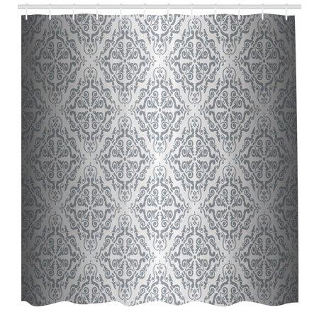Silver Shower Curtain Vintage Mandala Baroque Patterns Monochrome Victorian Antique Ornaments Damask Fabric Bathroom