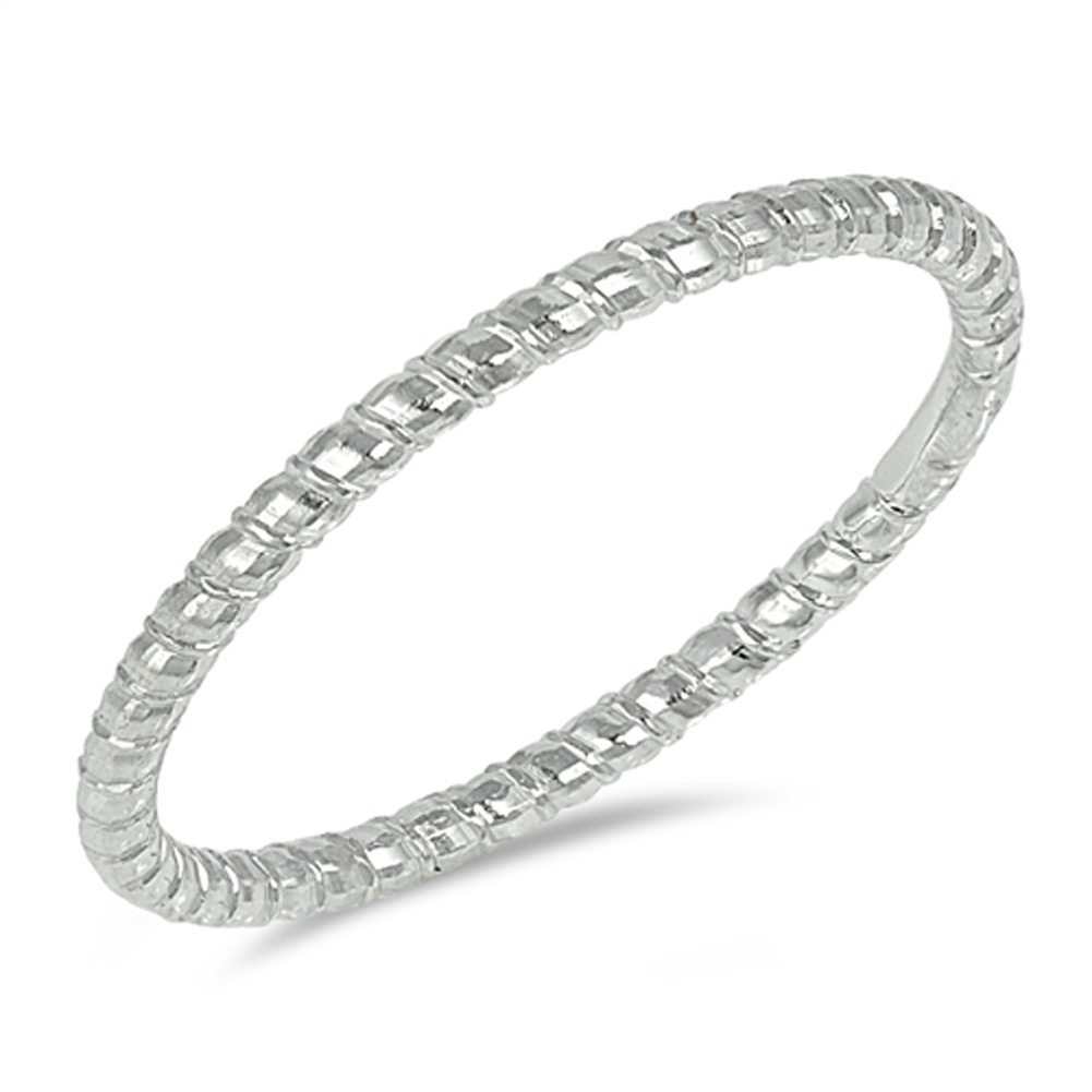 White CZ Simple Stackable Polished Ring New .925 Sterling Silver Band Sizes 4-12
