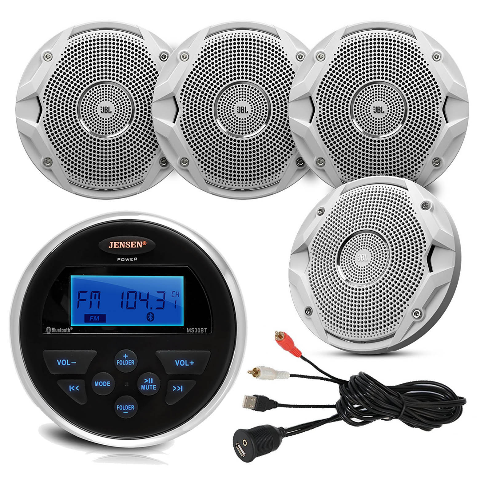 "Jensen MS30BTR Gauge Style Marine Yacht ATV Motorcycle Waterproof Stereo Bundle Combo With 4 x JBL MS6510 6.5"" Inch Boat Speakers + Enrock Universal USB / AUX To RCA 10"" Extension Cable"