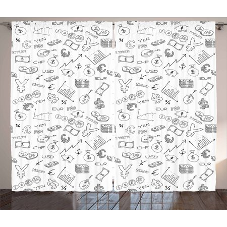 Money Curtains 2 Panels Set  Monochrome Pattern With Euro Dollar Yen Symbols Coins Piggy Bank Stock Graphs Doodle  Window Drapes For Living Room Bedroom  108W X 108L Inches  Black White  By Ambesonne