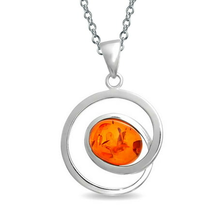 Amber 925 Sterling Silver Pendant (Circle Round Infinity Swirl Honey Amber Pendant Necklace For Women For Teen 925 Sterling Silver With Chain)