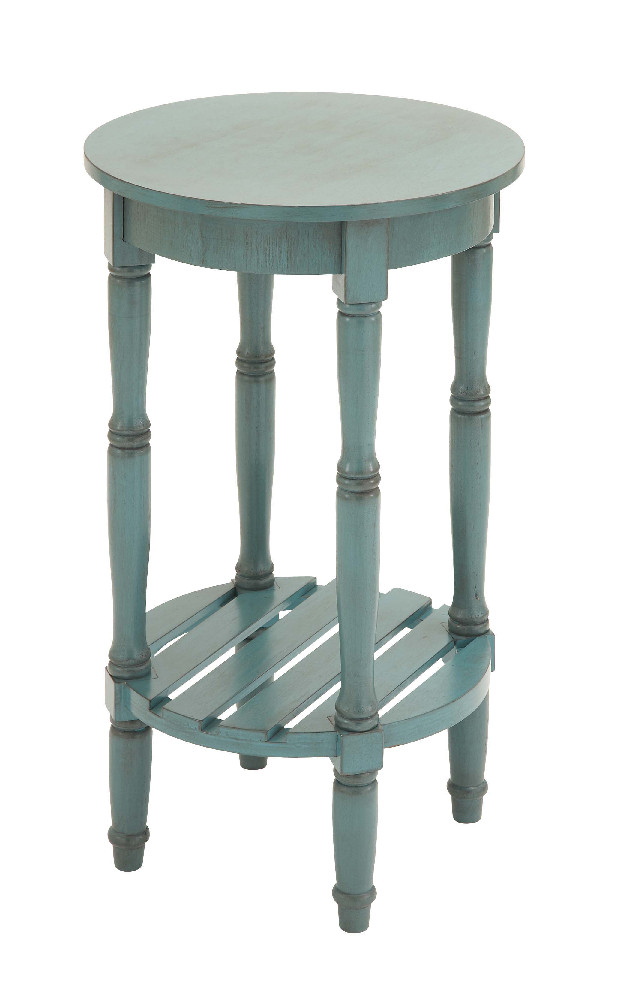 Decmode Farmhouse 29 Inch Distressed Wooden Round Accent Table, Teal by DecMode