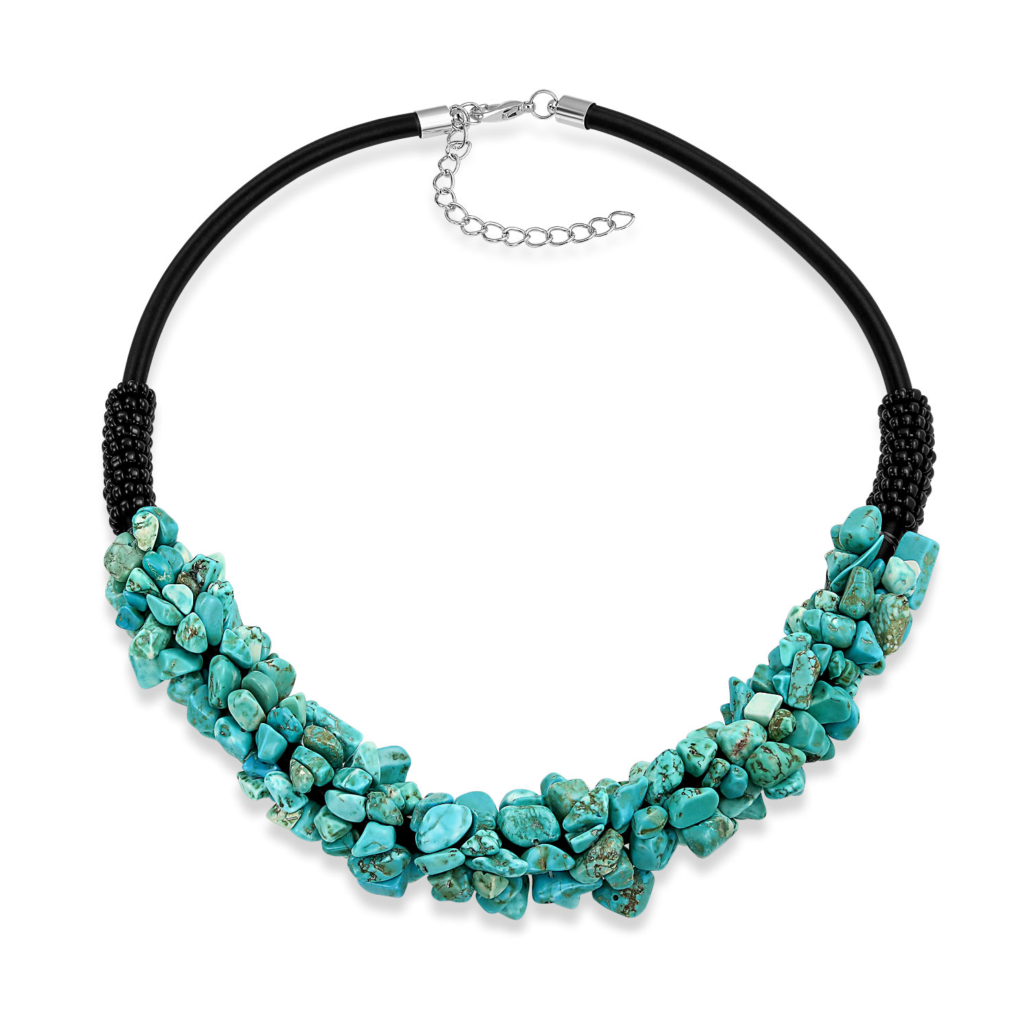 Blue Enhanced Turquoise Cluster Chip Black Faux Leather Boho Choker Collar Necklace  For Women Adjustable