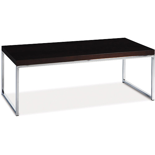 Avenue Six Wall Street Coffee Table, Chrome and Espresso