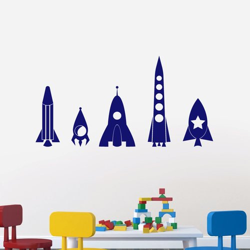 Sweetums Wall Decals 5 Piece Rocket Ship Wall Decal Set