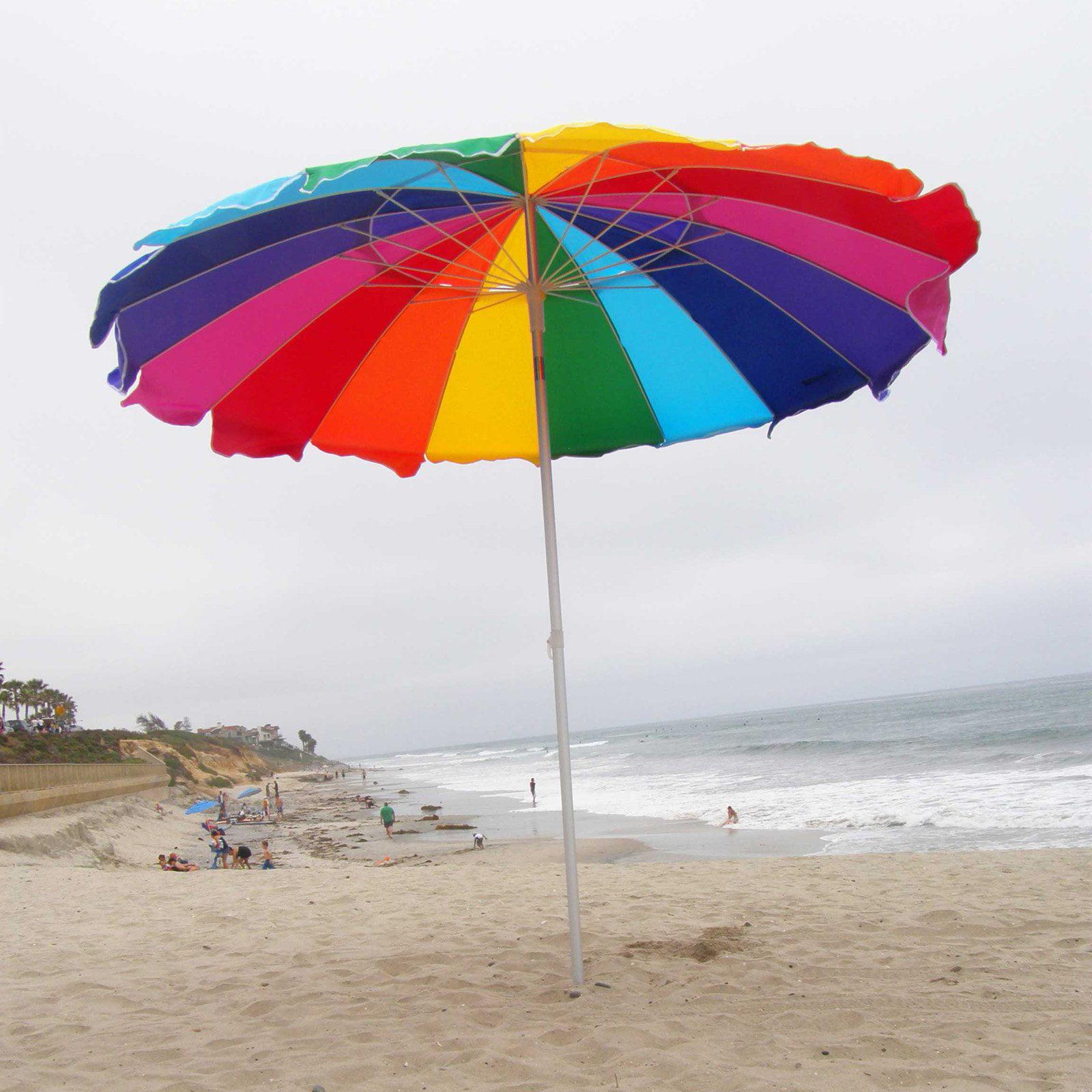 Impact Canopy 8 Ft Rainbow Beach Umbrella With Carry Bag Sand Anchor Auger