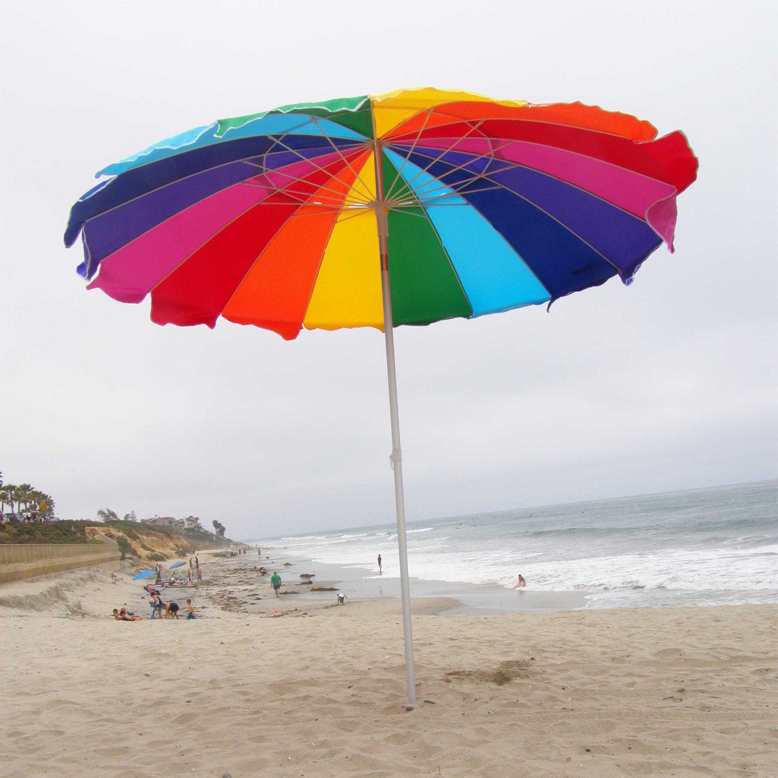 Impact Canopy 8 ft. Rainbow Beach Umbrella with Carry Bag with Sand Anchor Auger