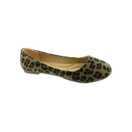 Girls Leopard Print Rounded Toe Slip On Trendy Ballet Flats](All Girls Shoes)