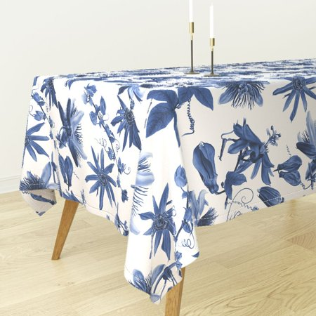 (Tablecloth Floral Tropical Hawaiian Flowers Botanical Blue And Cotton Sateen)