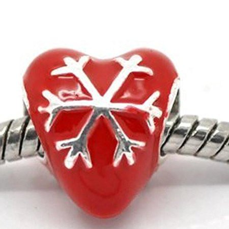 Enamel Christmas Snowflake Heart Charm European Bead Compatible for Most European Snake Chain Bracelet