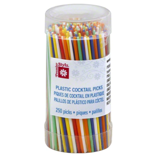 Large Plastic Toothpicks, 2.75 in, Assorted, 250ct