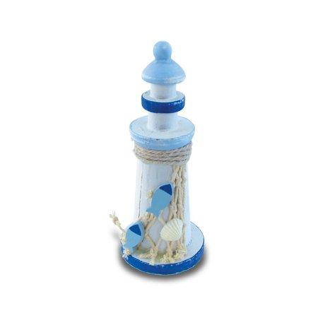 Puzzled Large Light Blue Stripes Lighthouse w/ Fish & Seashell 6