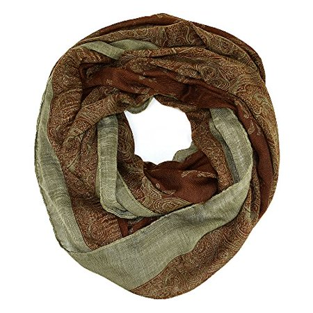 Indian Floral Print Wide Infinity Scarf (Brown)