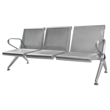 Rolled Steel 3 Seat Bench Salon Office Brank Airport Reception Waiting Room - Reception Seating Cards