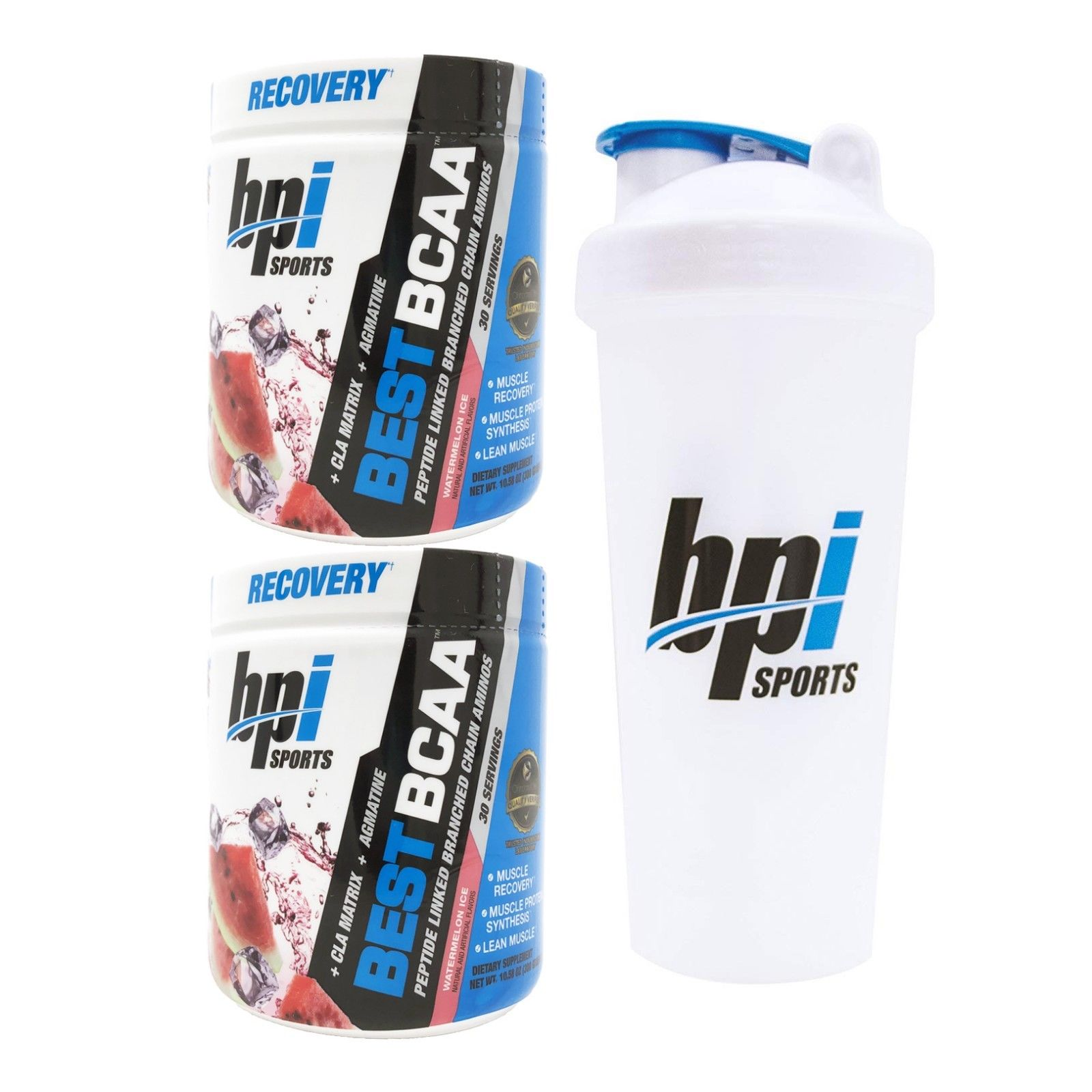 BPI Sports Best BCAA Branched Chain Amino Acids Pack of Two 30 Servings Watermelon with Official BPI Shaker