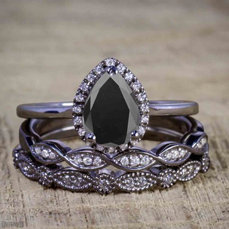 Bestselling 2.50 Carat Pear cut Black Diamond Halo Trio Wedding Bridal Ring Set in Black Gold