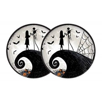 Nightmare Before Christmas Halloween Paper Plates - Jack Skellington and Sally Party Plates - 9