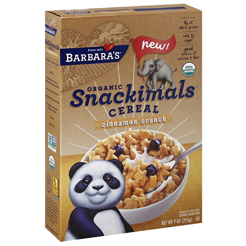 Barbara's Organic Snackimals Cinnamon Crunch Cereal, 9 oz, (Pack of 12)