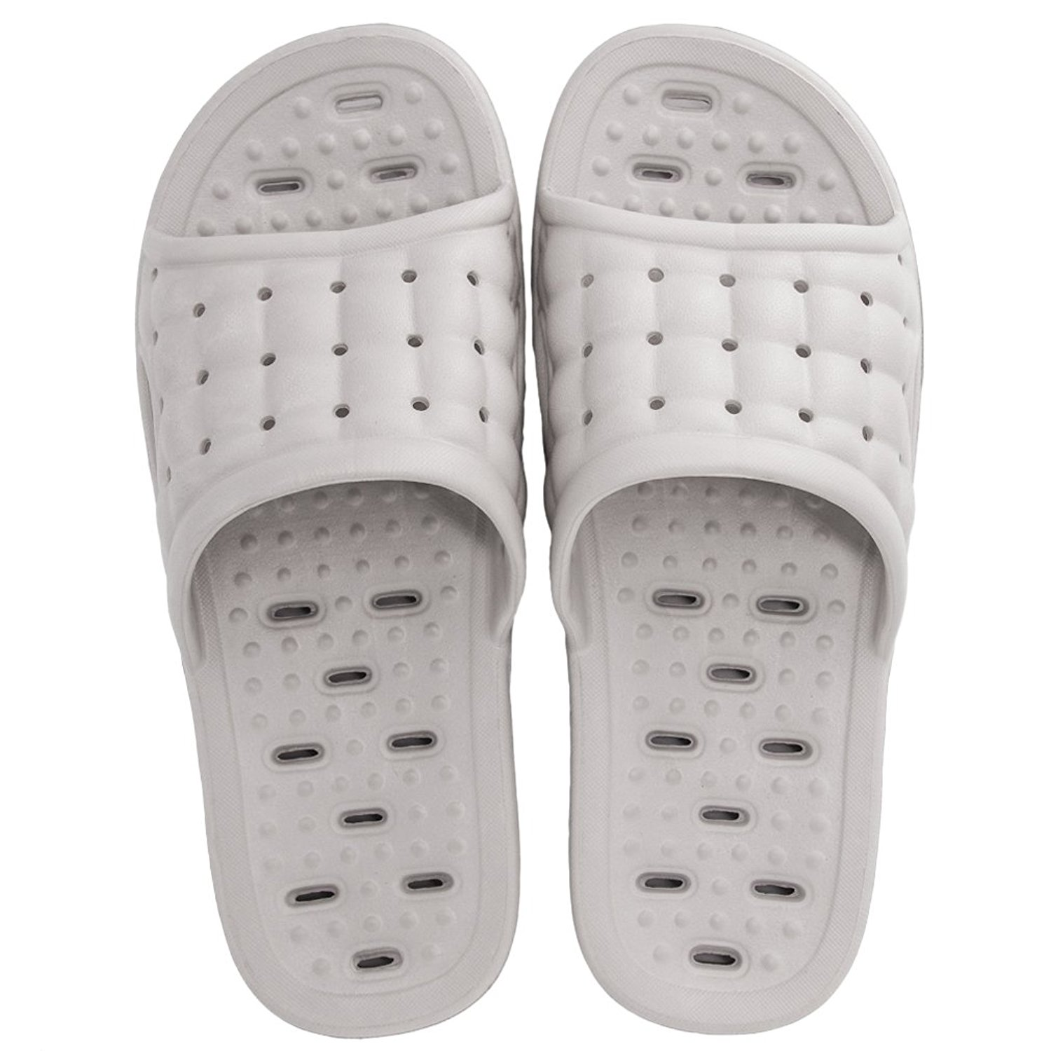 Anti-Slip Bath Slippers Quicky-drying Soft Hollow Slippers Causal Home Floor Shower Slippers(Men Grey) - USA Size: 9-10