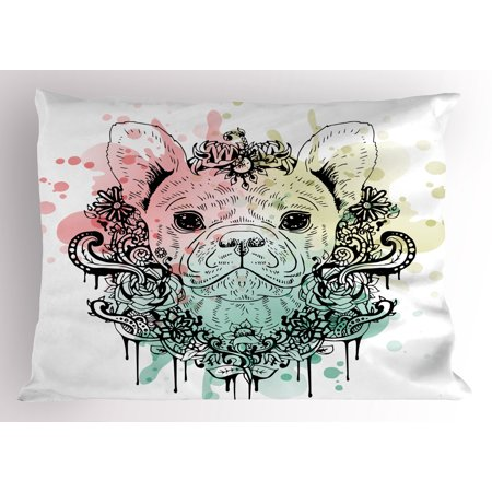 Animal Pillow Sham French Bulldog with Floral Wreath on Brushstroke Watercolor Print, Decorative Standard Size Printed Pillowcase, 26 X 20 Inches, Mint Pale Pink Pale Green, by Ambesonne ()
