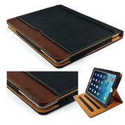 New S-Tech Black and Tan Apple iPad Air 2 Soft Leather Wallet Smart Cover with Sleep/Wake Feature Flip Case