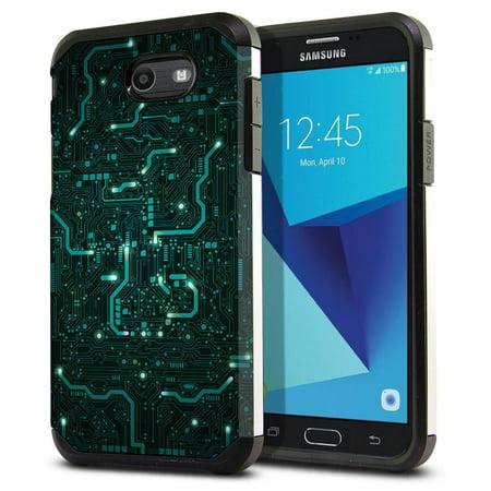 FINCIBO Dual Layer Hybrid Case Hard Plastic TPU Slim Back Cover for Samsung  Galaxy J7 2017 J727, PCB Circuit Board