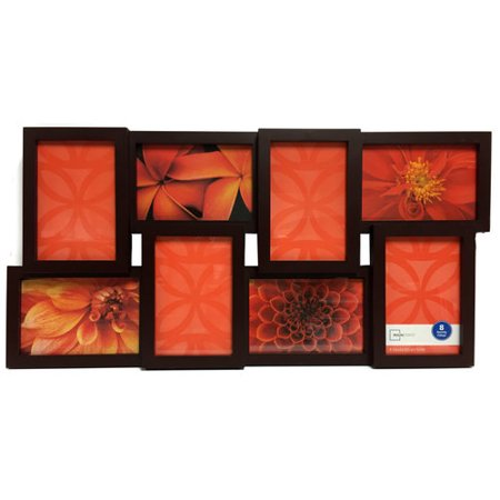Mainstays 8 Opening 4x6 Collage Picture Frame Brown Walmartcom