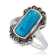 Real 925 Sterling Silver Swiss Marcasite Rectangle Turquoise Ring (6)